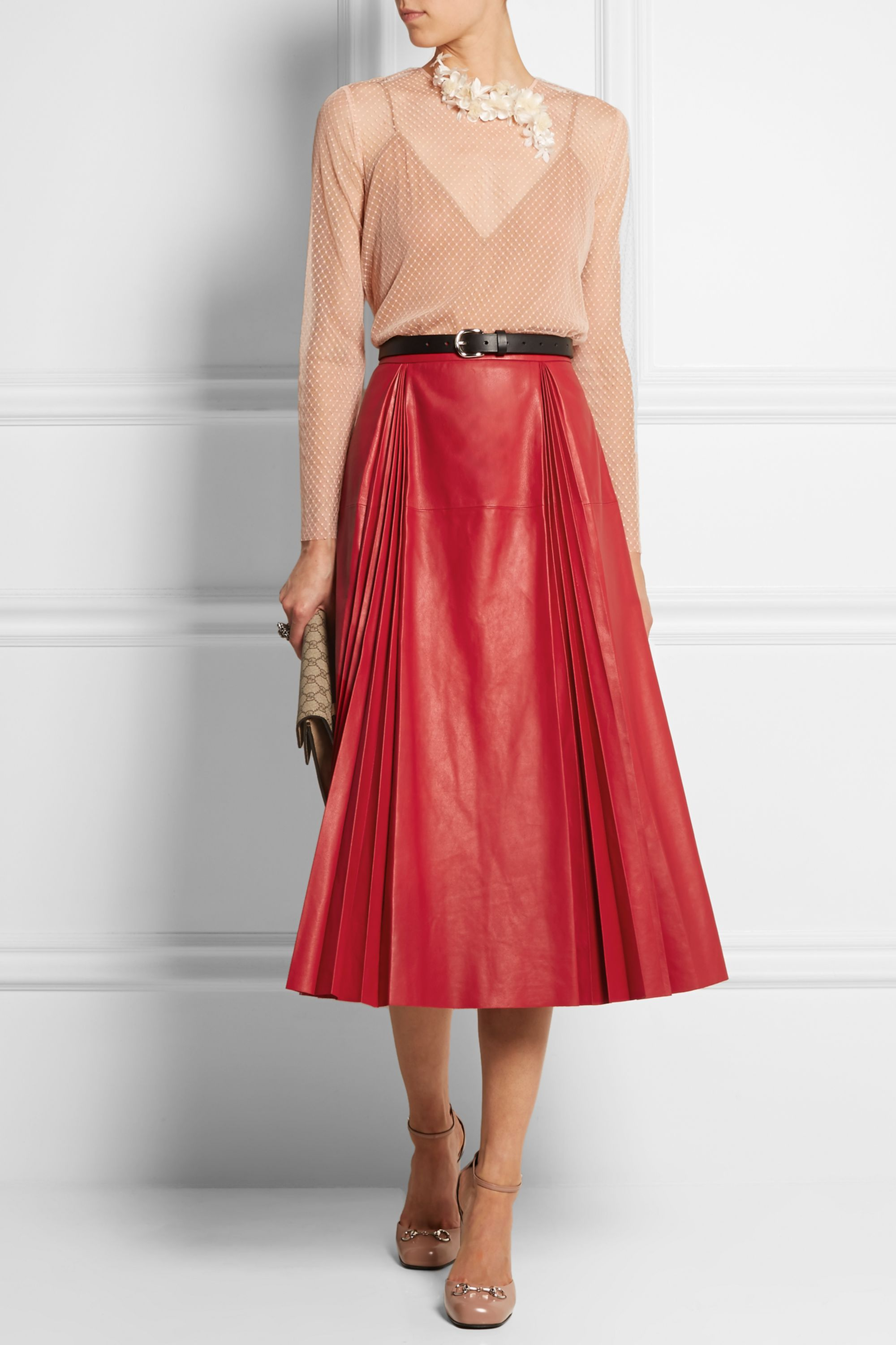 Gucci Pleated leather skirt