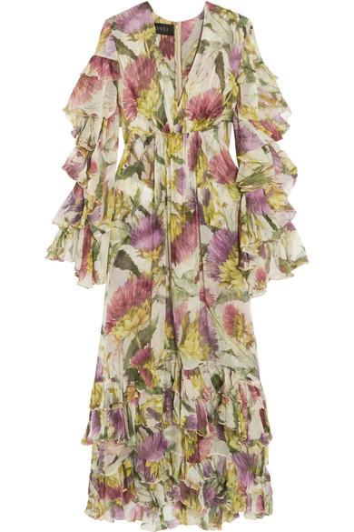 Gucci - Printed Silk-chiffon Dress - Pink