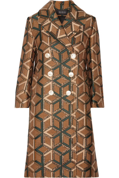 gucci female 211468 gucci doublebreasted metallic jacquard coat brown