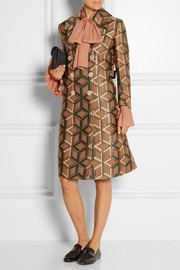 Double-breasted metallic jacquard coat