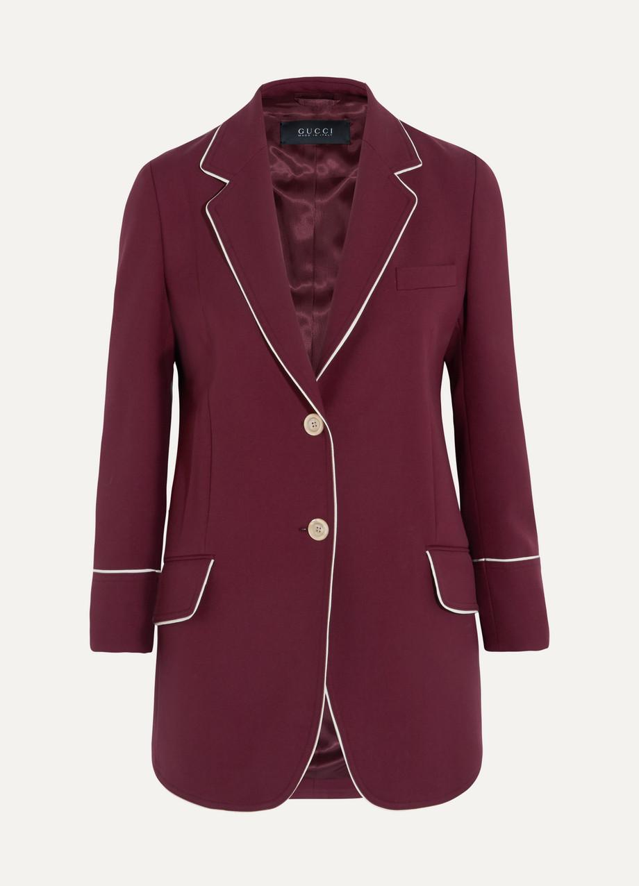 Gucci Silk-Trimmed Wool-Twill Blazer, Burgundy, Women's, Size: 48