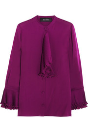 Ruffled silk-georgette blouse