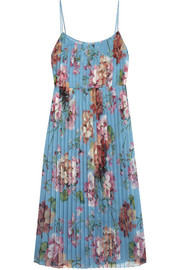 Pleated floral-print stretch-silk dress