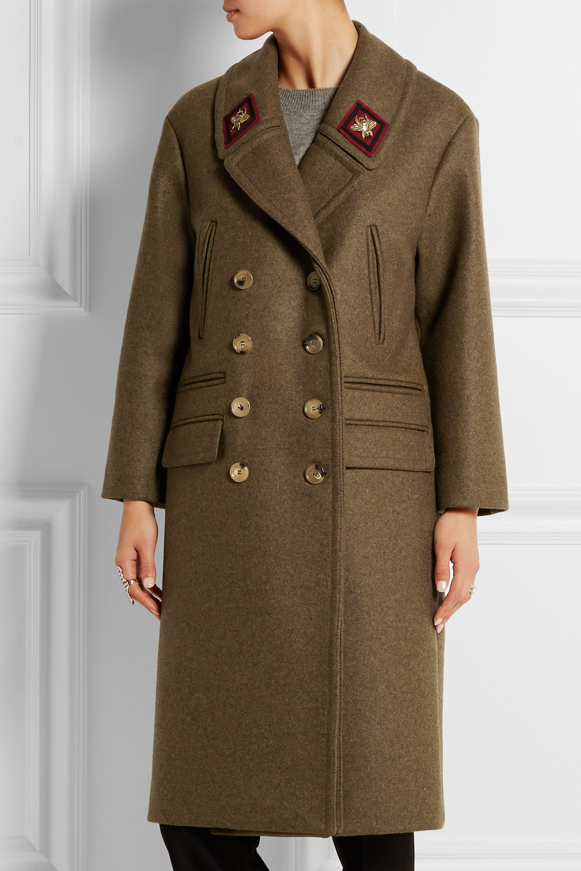 Gucci Double-breasted appliquéd wool coat