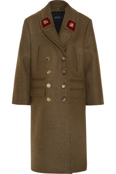 gucci female 227438 gucci doublebreasted appliqued wool coat army green