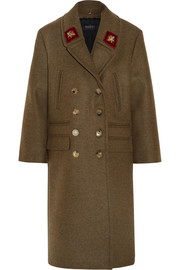 Double-breasted appliquéd wool coat