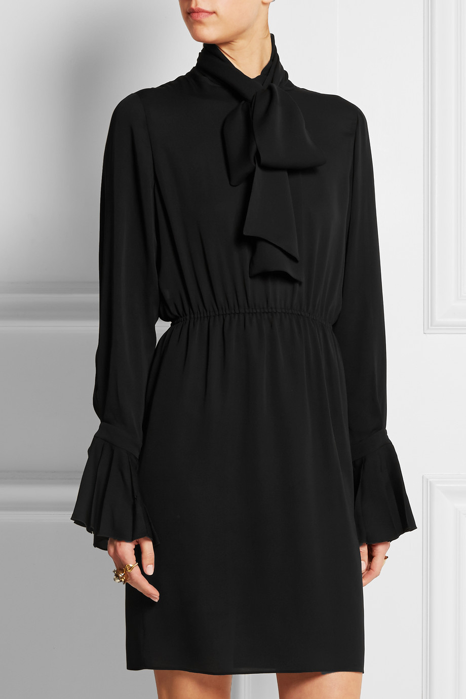 Gucci Pussy-Bow Silk-Georgette Dress, Black, Women's, Size: 44