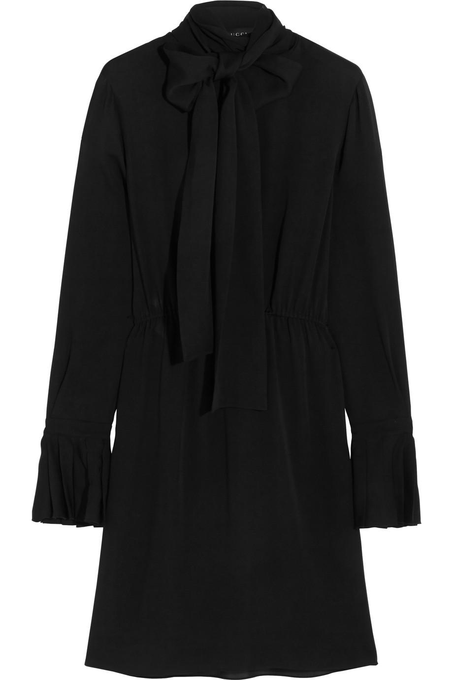Gucci Pussy-Bow Silk-Georgette Dress, Black, Women's, Size: 36
