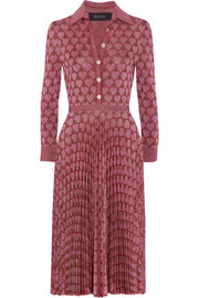 Metallic jacquard-knit dress