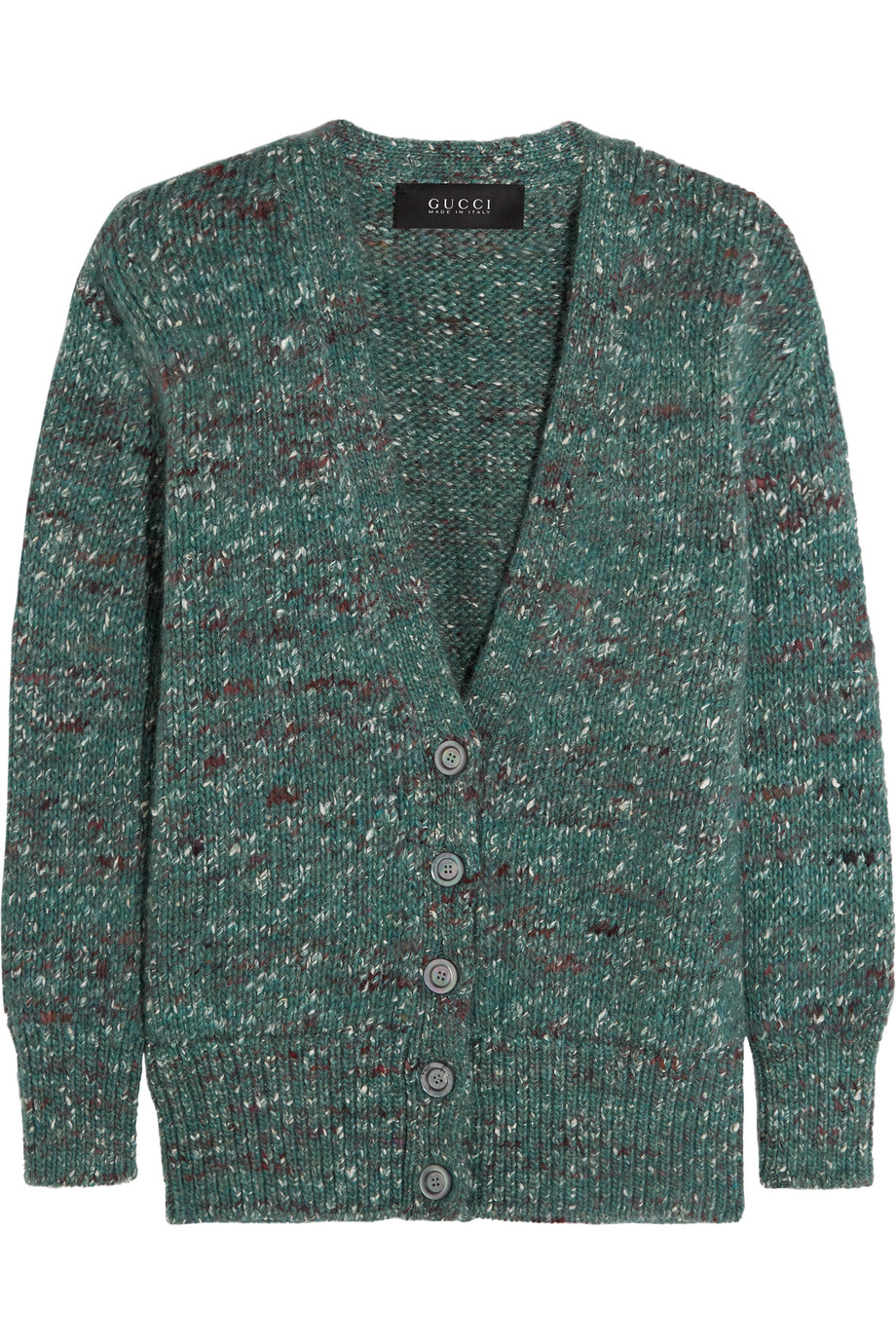 Gucci Mélange Wool-Blend Cardigan, Teal, Women's