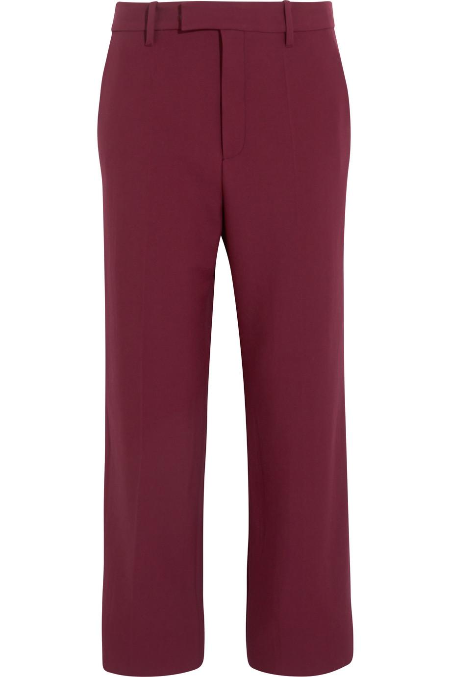 Gucci Wool Straight-Leg Pants, Claret, Women's, Size: 38
