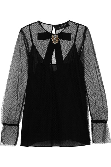 Gucci - Embellished Tulle And Mesh Top - Black