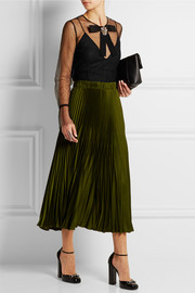 Gucci Embellished tulle and mesh top