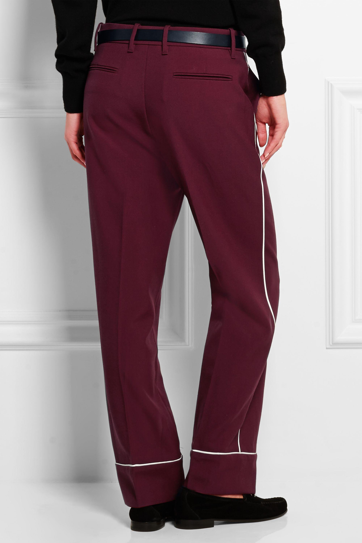 Gucci Silk-trimmed wool-twill straight-leg pants