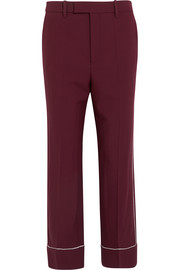 Silk-trimmed wool-twill straight-leg pants