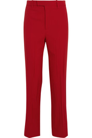 Stretch wool and silk-blend straight-leg pants