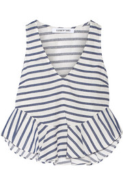 Chester striped poplin and slub twill top