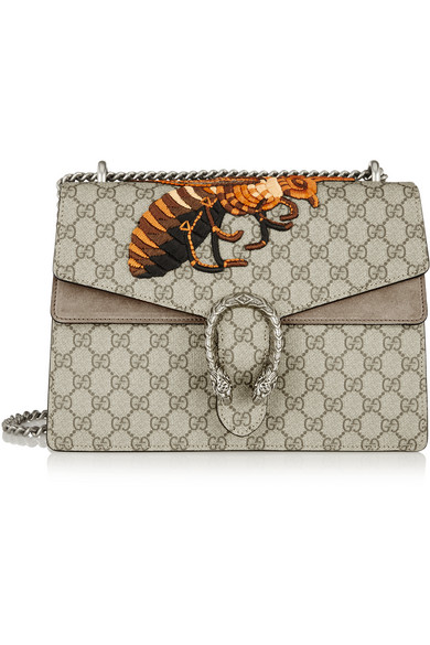 bb0ecbdee422 Gucci | Dionysus medium embroidered coated canvas and suede shoulder ...