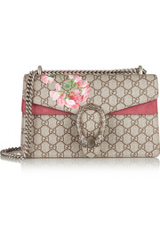 Dionysus Blooms coated canvas and suede shoulder bag