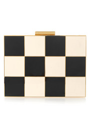 Checked enamel and gold-tone box clutch