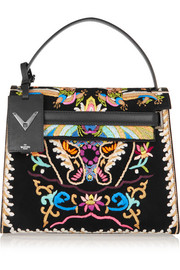 Valentino My Rockstud embroidered suede and leather tote