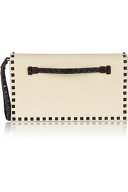 The Rockstud two-tone leather clutch