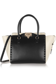 The Rockstud small two-tone leather trapeze bag