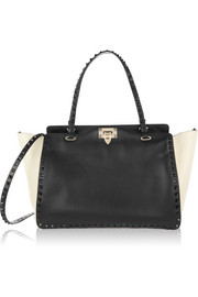 The Rockstud medium two-tone leather trapeze bag