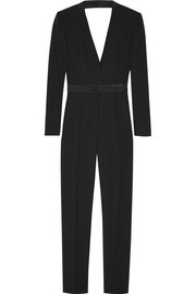 Satin-trimmed draped wool-crepe jumpsuit
