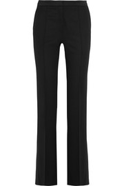 Platon satin-trimmed  grain de poudre wool flared pants