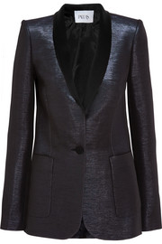 Vesta satin-trimmed metallic faille blazer