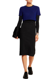 Layered ribbed stretch-jersey and textured-knit dress