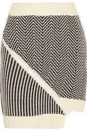 Asymmetric knitted mini skirt