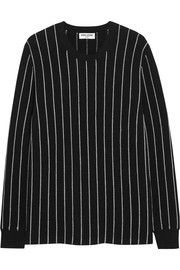 Pinstriped cotton-blend top