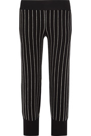 Pinstriped cotton-blend wide-leg pants