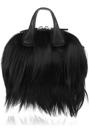 Micro Nightingale shoulder bag in black goat hair and leather