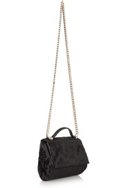 Mini Pandora Box bag in leather-trimmed flocked canvas