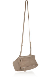 Micro Pandora shoulder bag in taupe textured-leather