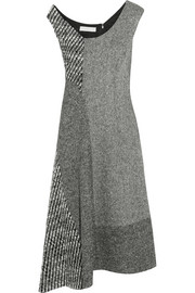 Jackie asymmetric paneled wool-tweed dress