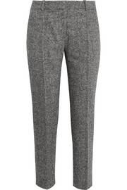 Cropped wool-tweed straight-leg pants