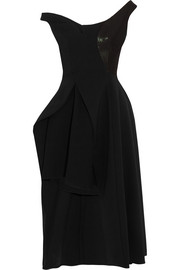 Reily cutaway embellished wool-blend crepe midi dress