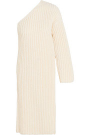 Asymmetric ribbed-knit wool-blend sweater dress