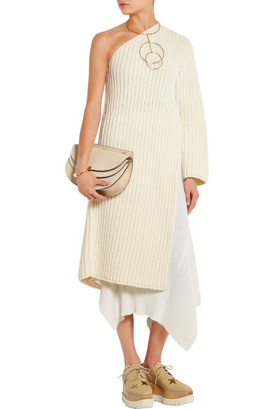 9691b0ef33f Stella McCartney. Asymmetric ribbed-knit wool-blend sweater dress