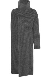 Ribbed wool-blend turtleneck dress
