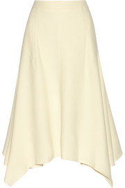 Emma asymmetric wool-blend crepe skirt