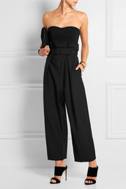 Belted wool and mohair-blend wide-leg pants