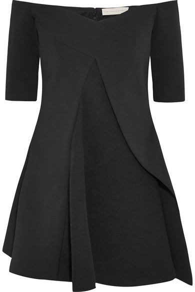Stella McCartney. Sabrina off-the-shoulder stretch-wool and crepe top