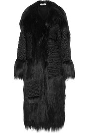 Nyla embroidered faux fur coat