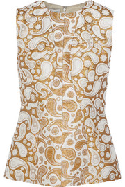Paisley cotton-blend jacquard top