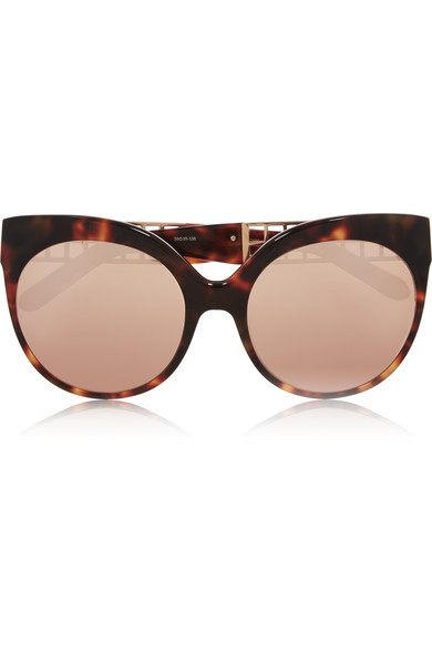 01f05d4d511 Linda Farrow. Cat-eye rose gold-plated acetate mirrored sunglasses